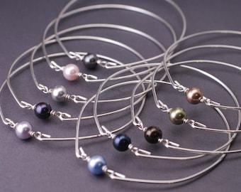 Pearl Bangle Bracelet, Sterling Silver Bangle Bracelet, Simple Bangle Bracelet