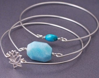 Bangle Bracelet Set, Silver Bangle Bracelets, Blue Lotus Bangle Bracelets, Turquoise Bracelet Set