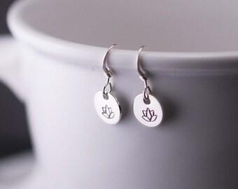 Lotus Earrings, Short Earrings, Simple Earrings, Yoga Earrings, Sterling Silver Lotus Jewelry