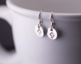 Cross Earrings, Short Earrings, Simple Earrings, Christian Earrings, Sterling Silver Christian Jewelry