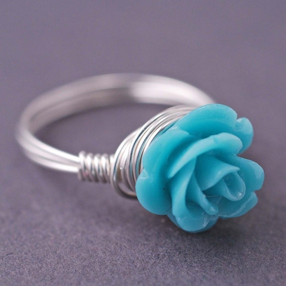 Small Blue Coral Rose Recycled Sterling Silver Ring