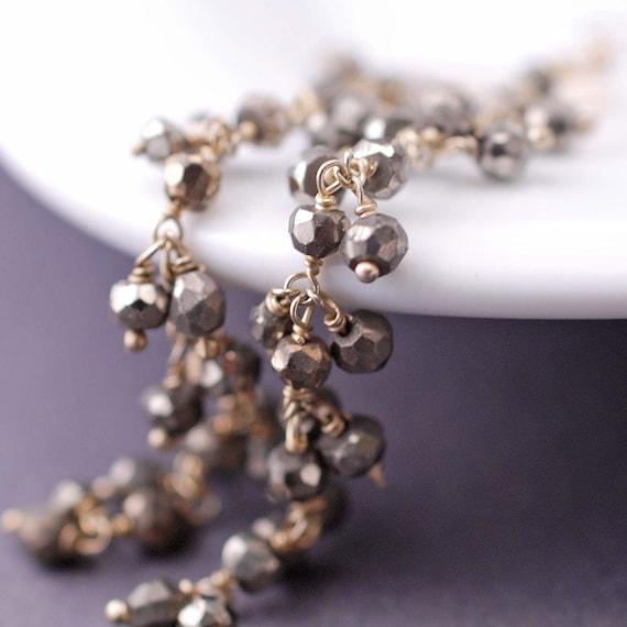Gold Pyrite Earrings, Long Earrings, Long Pyrite Earrings, Long Gold Pyrite Fool's Gold Earrings