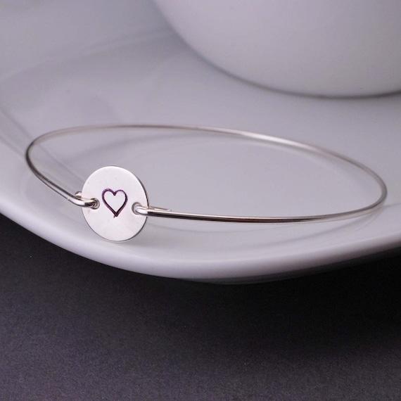 Bangle Bracelet, Heart Jewelry, Love Bracelet,  Hand Stamped Bangle Bracelet, Wife Gift