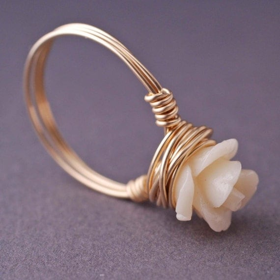 Gold Rose Ring Wire Wrapped Cream Coral, Small Rose Ring, Gold Ring