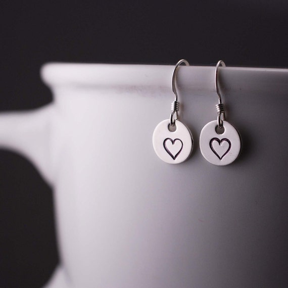 Heart Earrings, Sterling Silver Heart Earrings, Short Earrings, Simple Earrings, Hand Stamped Earrings