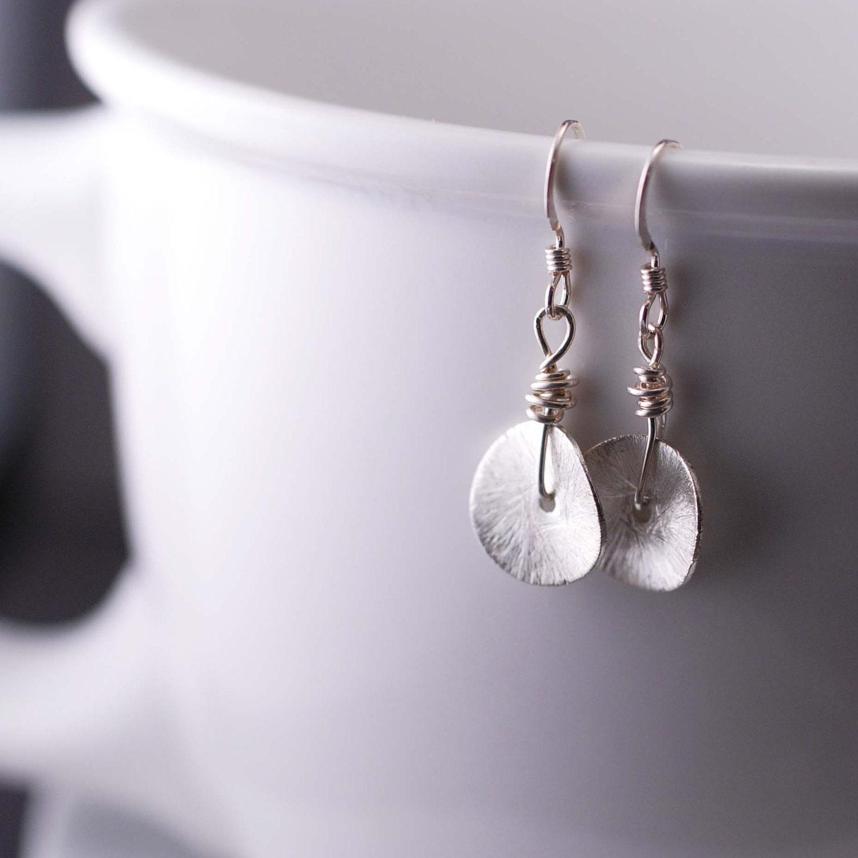 SImple Earrings Sterling Silver Circle Disc Earrings