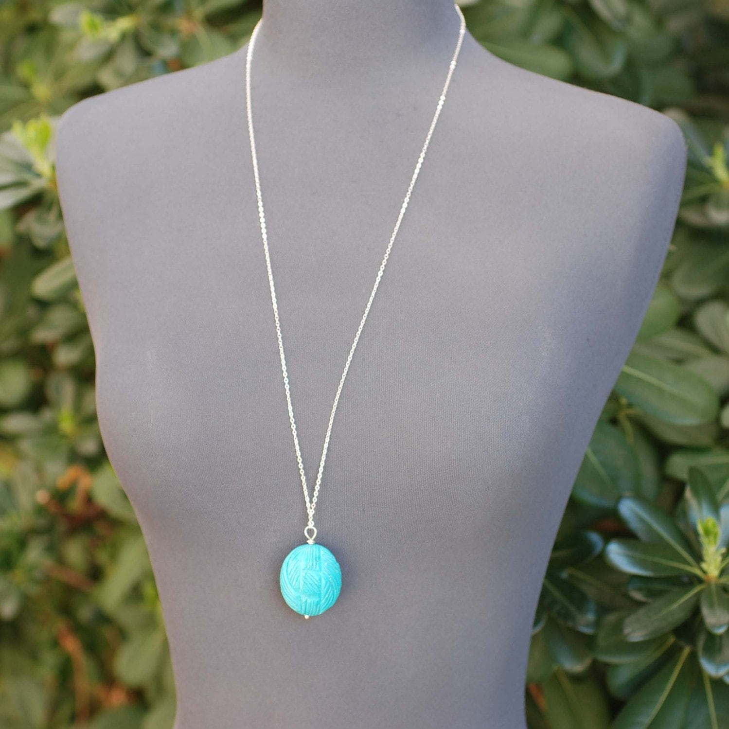 Long Turquoise Necklace Pendant Necklace Sterling Silver