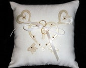 Ivory Heart Lock and Key Applique Wedding Pillow for Ring Bearer