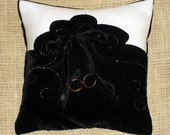 Black Velvet and Dull Ivory Satin with Silver Swirls Ring Bearer Pillow