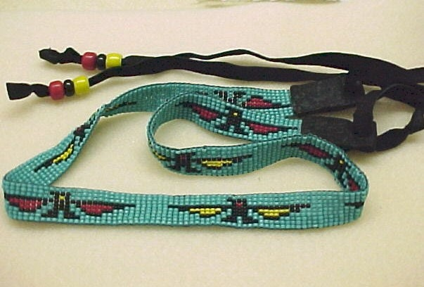 beaded hat band with thunderbird design for cowboy hats loom