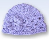 Preteen-Adult Crochet Beanie With Flower - lavender