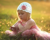 NEW 2-4T Crochet Beanie With Flower - eggshell, pastel pink, rose pink