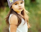 NEW 1-2T Crochet Beanie With Flower - lavender, yellow, white