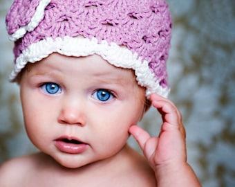 Crochet Baby Hat, Ready to Ship, Baby Girl Hat, Newborn Beanie, Baby Newborn Hat, Baby Girl Beanie, Mauve and White, Newborn Girl Hat