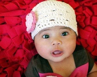 Toddler Hat, Baby Girl Hat, Baby Newborn Hat, Newborn Prop, Crochet Newborn Hat, Off White Pink, Crochet Baby Hat, Baby Girl, Girl Hat