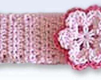 Crochet Newborn Baby Headband With Flower - pink, fuchsia, pink