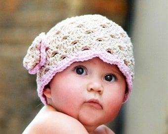Baby Girl Hat, Baby Hat, Newborn Hat, Crochet Hat, Infant Beige Flower Hat, Newborn Girl Clothes Clothing Photo Prop Flower Cap Hat