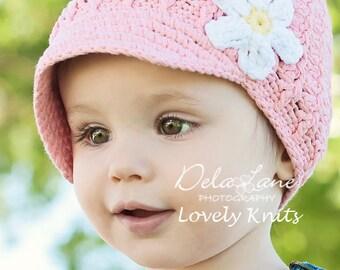 Baby Girl Hat, Newborn Hat, Crochet Baby Hat, Newsboy Hat, Newborn Prop, Baby Girl, Pink White, Newborn Crochet Hat, Baby Newborn Hat