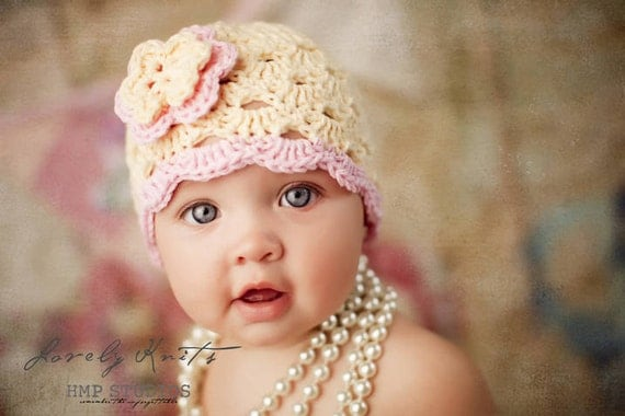 Baby Girl Hat, Baby Hat, Newborn Hat, Crochet Hat, Infant Cream Hat, Newborn Girl Clothes Clothing Photo Prop Flower Cap Hat