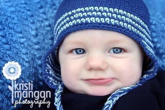 Crochet Baby Hat, Baby Boy, Ear Flap Hat, Baby Boy Hat, Newborn Photo Prop, Boy Ear Flap Hat, Newborn Baby Hat, Blue