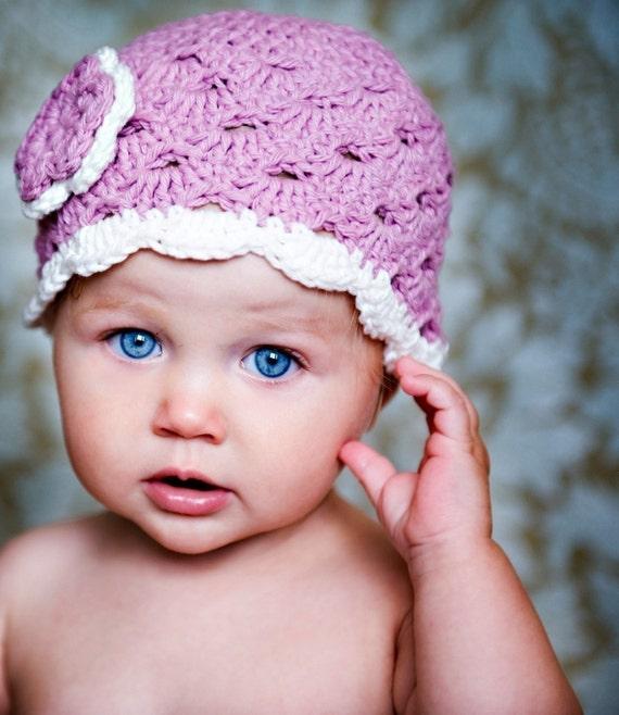 Crochet Baby Hat, Baby Girl Hat, Newborn Beanie, Baby Newborn Hat, Baby Girl, Newborn Prop, Mauve White, Baby Girl Beanie, Newborn Girl Hat