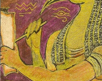 Egyptian Ibis Headed Thoth ACEO Card OOAK Original by Rushing