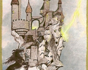 Fantasy Castle of Lost Souls Unicorns ACEO Card Artwork Limited Edition by Rushing