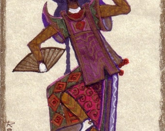 ACEO Card Dancer Original Artwork By Rushing