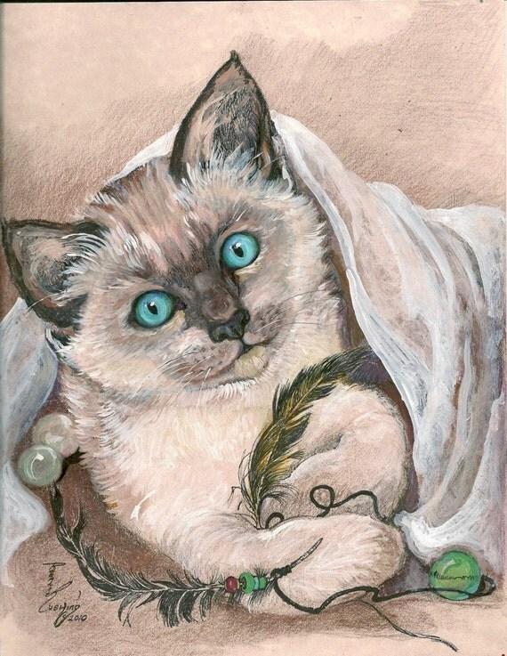 Siamese Kitten Nap Time Original Artwork by Rosalie Rushing