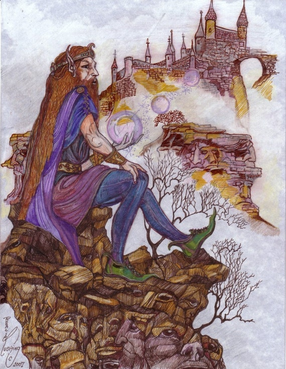 Elf King Wizard Cliff of Souls Castle Fantasy Original Artwork by Rushing