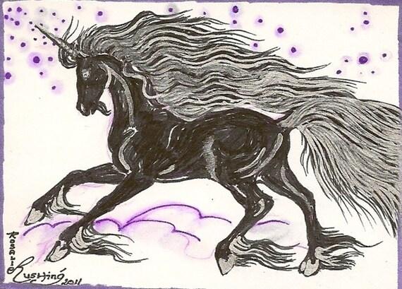 Black Unicorn ACEO Card OOAK Original by Rushing