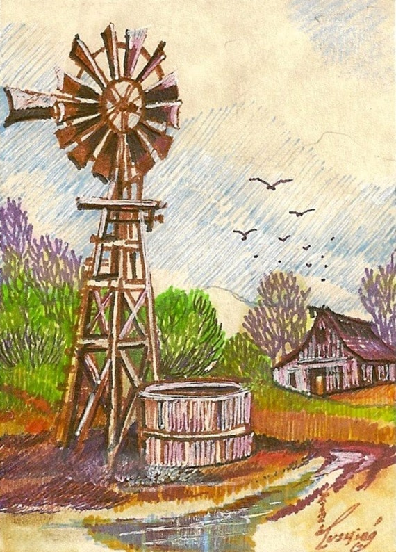 Wind-Mill Homestead  ACEO Card Original Artwork by Rushing