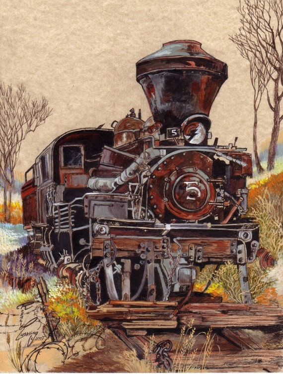 Trains Locomotaive Iron Horse Original Art by Rushing collectors