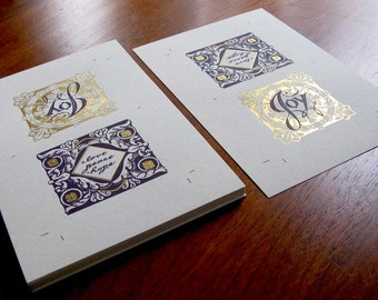 DIY 50 Gift Tags, Cards, Gifts, Crafts, Holiday, Elegant Gold Foil with Purple Lithography
