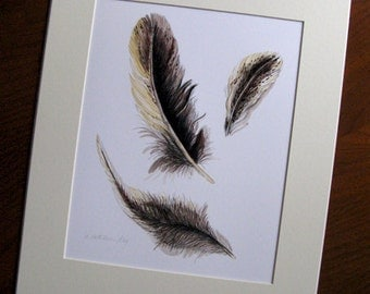gifts, decor, Feather I Art Print, drawing of forest, nature, farm, birds