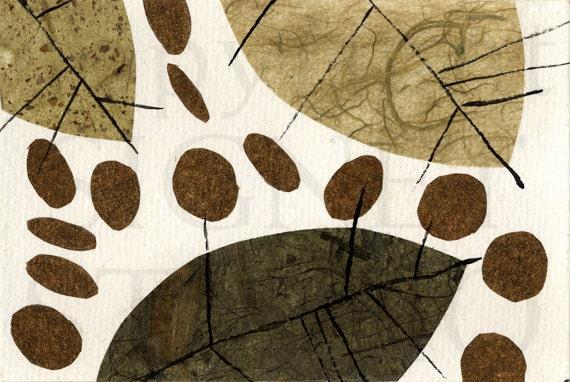 Original Collage, 4 x 6 Abstract Nature, mid century art
