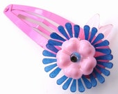 Pink and Blue Vintage Flowers Barrette