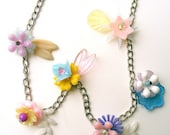 Pastel Vintage Flowers Necklace