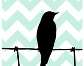 Bird Silhouette Print Any Color 8 x 10 Aqua Art for Modern Home Decor, Chevron, Bird on Wire Fence