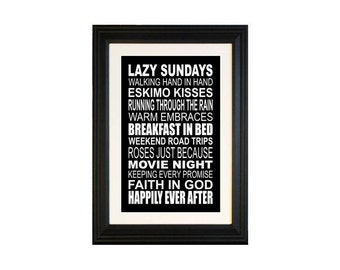 Personalized  Subway Art, Custom Quote Poster - 11x17 or 12 x 18 Black and White Subway Sign, First Year Paper Anniversary Gift for Husband