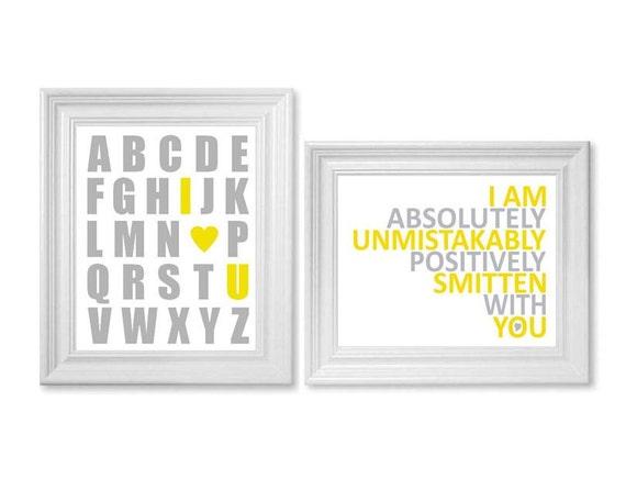 Yellow and Gray Nursery Art - Alphabet Art, Alphabet Print, Nursery Print, Nursery Quote,  8x10 Print Set - Typography Nursery Decor