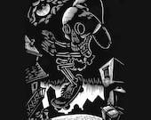 Skeleton Skateboarding Tshirt Calavera Skater  S, M, XL