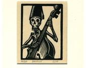 Skeleton Bassist Calavera original linocut