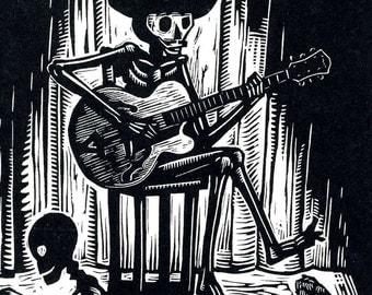 2XL or 3XL Black 'Guitar Bones' T-shirt