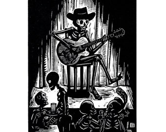 Calavera Guitar Bones Greeting Card