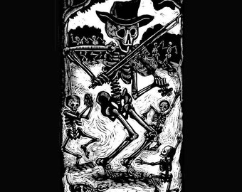 2XL or 3XL Skeleton Fiddler Calavera Black T-Shirt