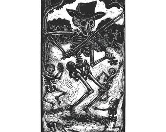 Skeleton Fiddler Calavera Greeting Card