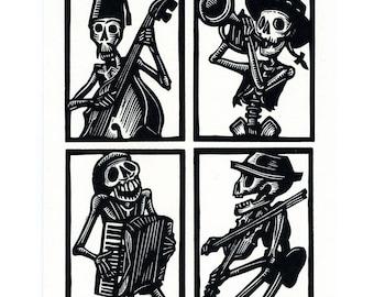 Calavera Skeleton dem Bones Greeting Card