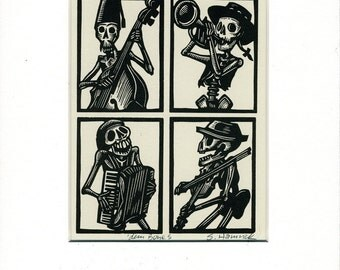 Matted and ready to frame dem Bones Skeleton Calavera Greeting Card