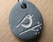 bird and berries beach pebble necklace